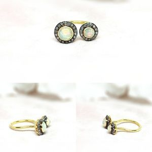 Opal & Diamond Sterling Silver Ring